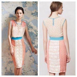 Anthro Champagne & Strawberry Ephemere Dress